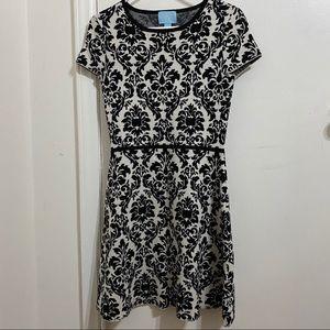 Knit White and Black Lace Print Sweater Dress